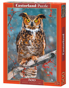 Agressif Castorland B-52387 - Great Horned Owl, Puzzle 500 Pièces-neuf-afficher Le Titre D'origine