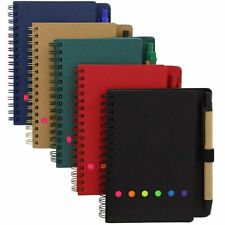 5x Kraft Spiral Mini Notebooks Notepads Note Book Pad With Sticky Notes 6
