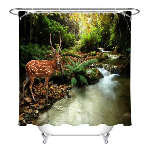 Sika Deer Forest River Fabric Shower Curtain Cabin Hunting Bathroom Decor /&Hooks