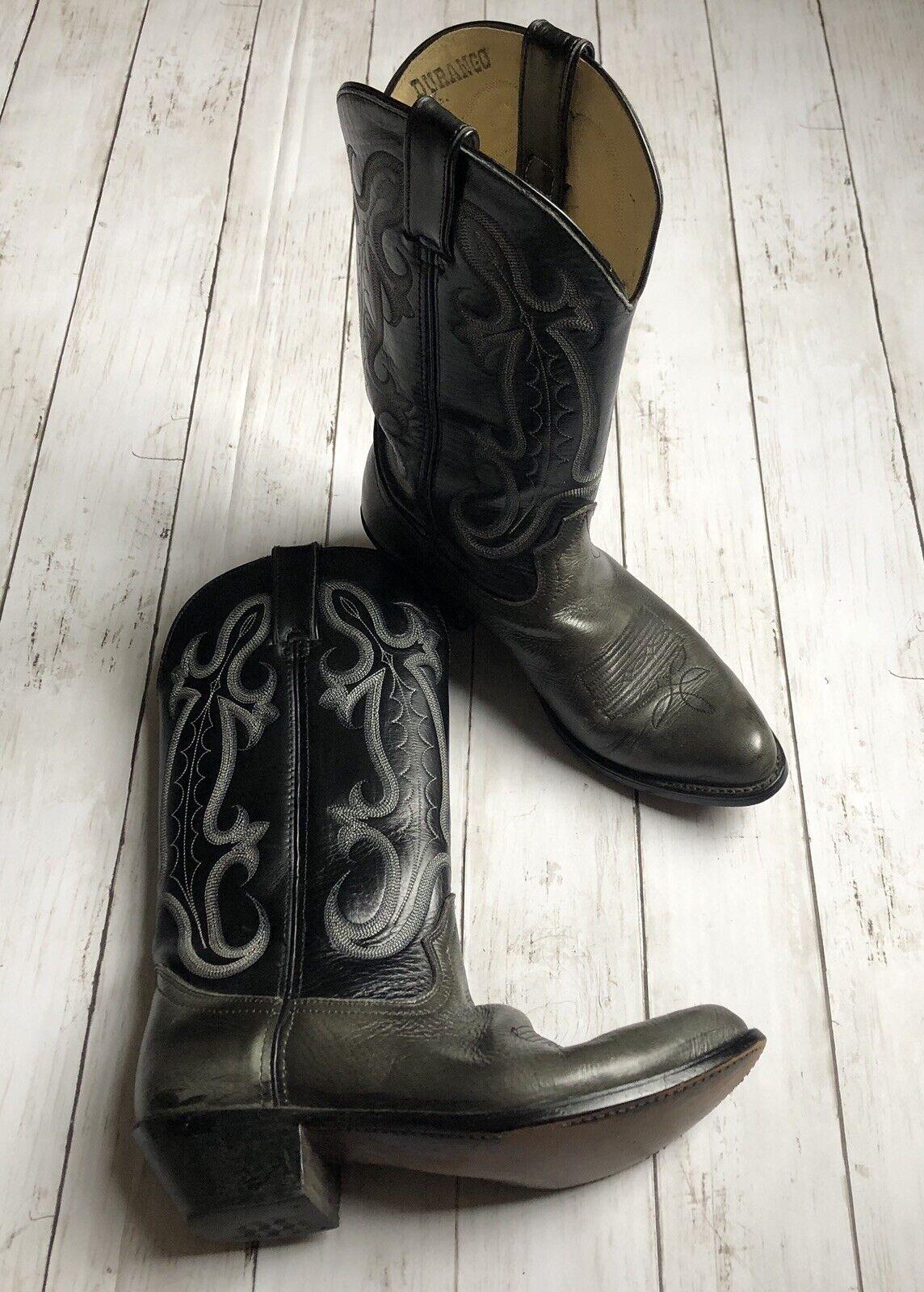 Durango West Men's Sz 8D Black Leather Western Cowboy Ride Rodeo Boots