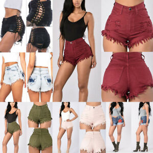 Womens High Waisted Denim Jeans Shorts Summer Casual Hot Short Pants Trousers