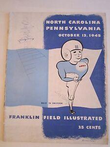 1945 NORTH CAROLINA UNIVERSITY VS PENNSYLVANIA FOOTBALL PROGRAM - BOX C