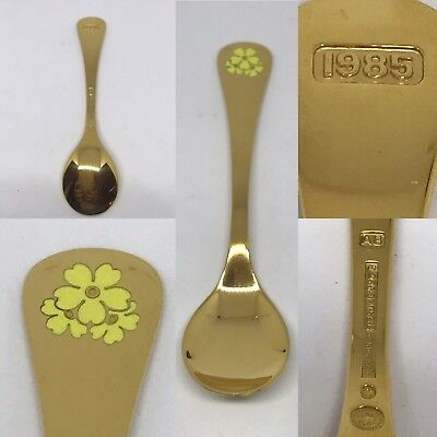 "Georg Jensen Sterling Silver Annual Spoon Vermeil with Kodriver Flower 1985 6/"""