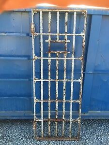 Image is loading Vintage-Antique-Jail-Door-Old-Steel-Iron-Prison- & Vintage Antique Jail Door Old Steel Iron Prison Cell Architectural ...