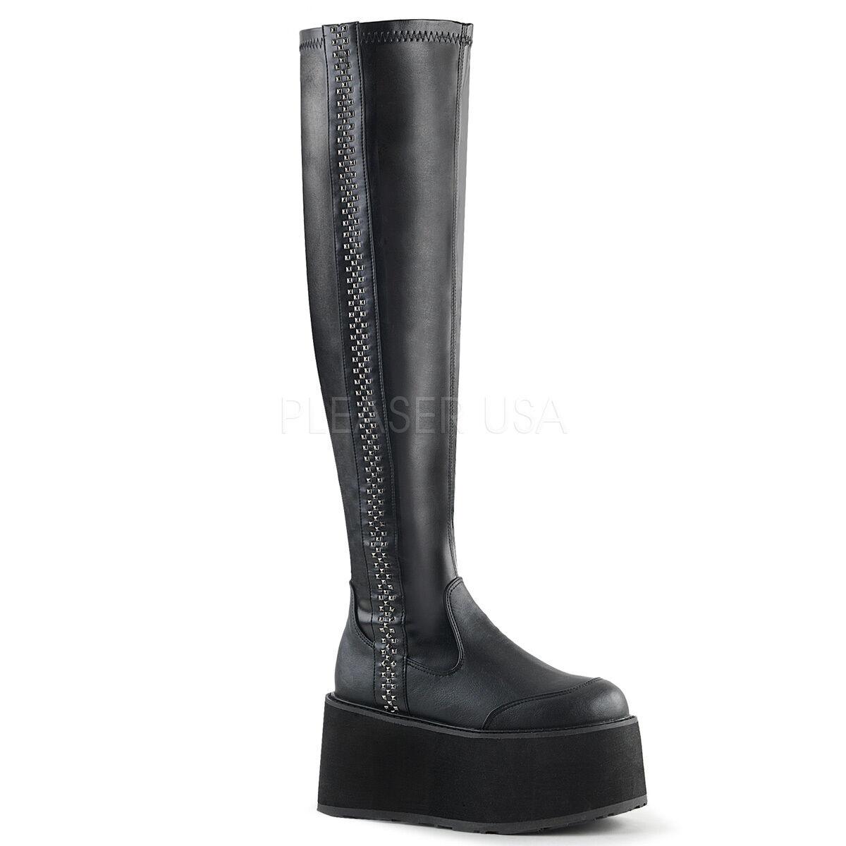 Demonia DAM302 BVL Negro Góticos Punk Plataforma Tachas Lado Lado Lado botas para mujer alto del muslo 930da2