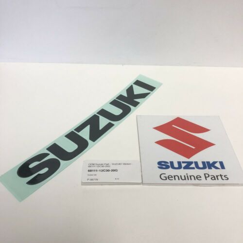 Gunmetal Grey 'Suzuki' Sticker - 68111-12C30-20G Suzuki Genuine Part