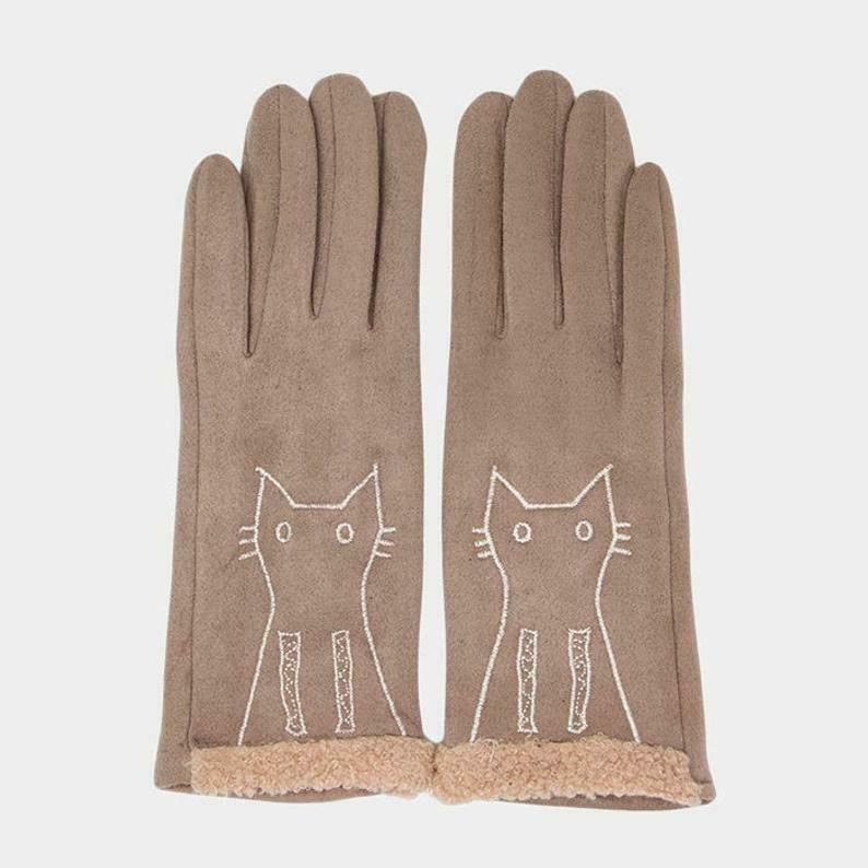 Embroidery Cat Detail Solid Smart Touch Gloves - Beige
