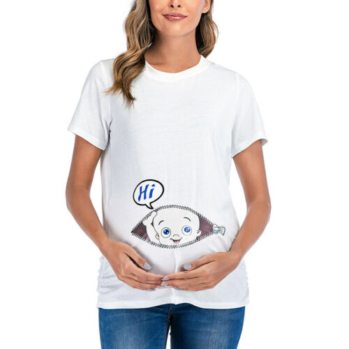 Damen Lustige Umstandsmode T Shirts Schwangerschaft Süß Baby Umstandsshirt Tops