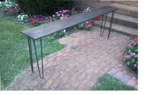 "Beautiful dark walnut poplar console table sofa table 30/"" raw steel hairpin legs"