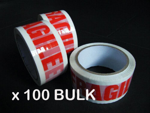 100 BULK Rolls Packing Fragile Sticky Tape 48mm*66m removal postage heavy duty