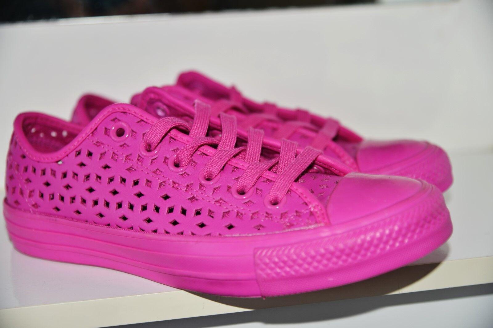 Nuevo Converse Mujer Cuero Superior Perforada Rosa Zapatos de mujer 554490 C Reino Unido 4