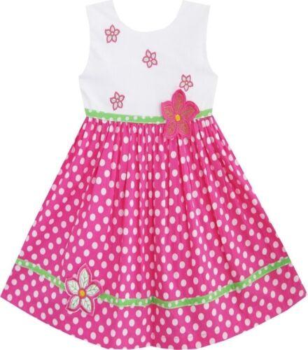 Filles rose polka dot floral printemps occasion anniversaire fête été kids robe