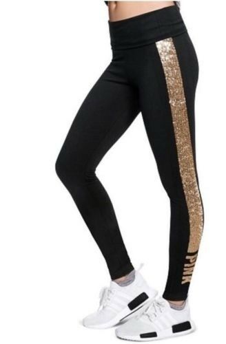rosa Bling ❤️ Secret Victoria's Splendida Paillettes Leggings xp dorate Xs Eq4SP