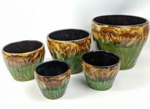 Vintage Set of 5 McCoy Jardiniere Sun & Moon Gloss Glaze Planters Majolica Pots