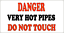 METAL SIGN WARNING CAUTION RISK OF SCALDING BOILING  394 DANGER HOT PIPES