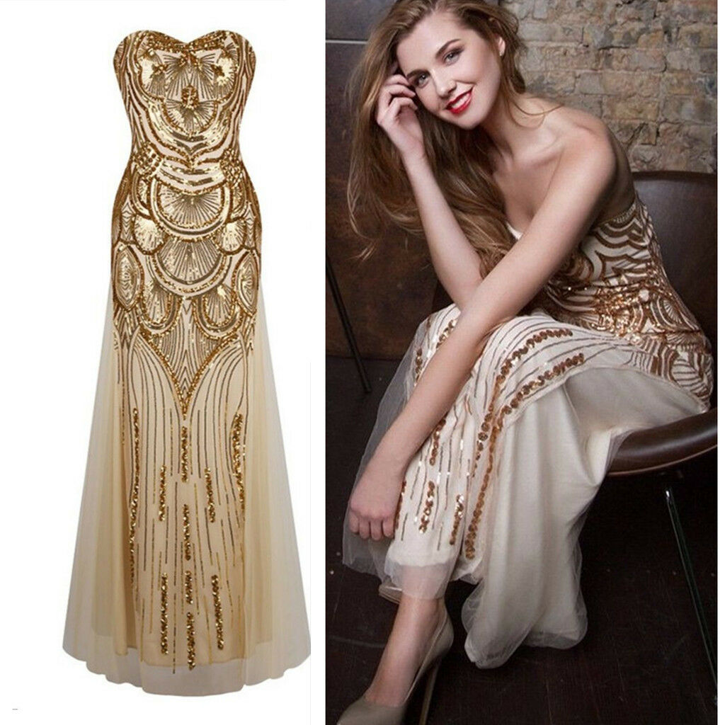Lady Gold Sequin 1920 Gatsby Flapper Maxi Cocktail Party Prom Evening Dress