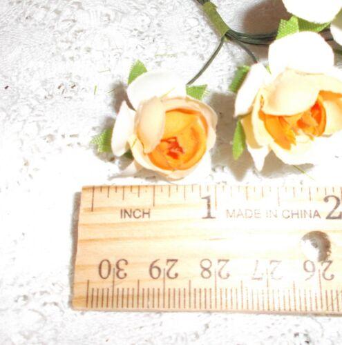 ROSE millinery Vintage styl 6 silk APRICOT fabric flowers pick ALEXANDER dolls
