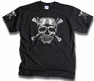 Skull-Bones-Daggers-Pirate-Biker-Goth-T-Shirt-Sleeve-Prints-Grunge-Mens-Sm-3XL