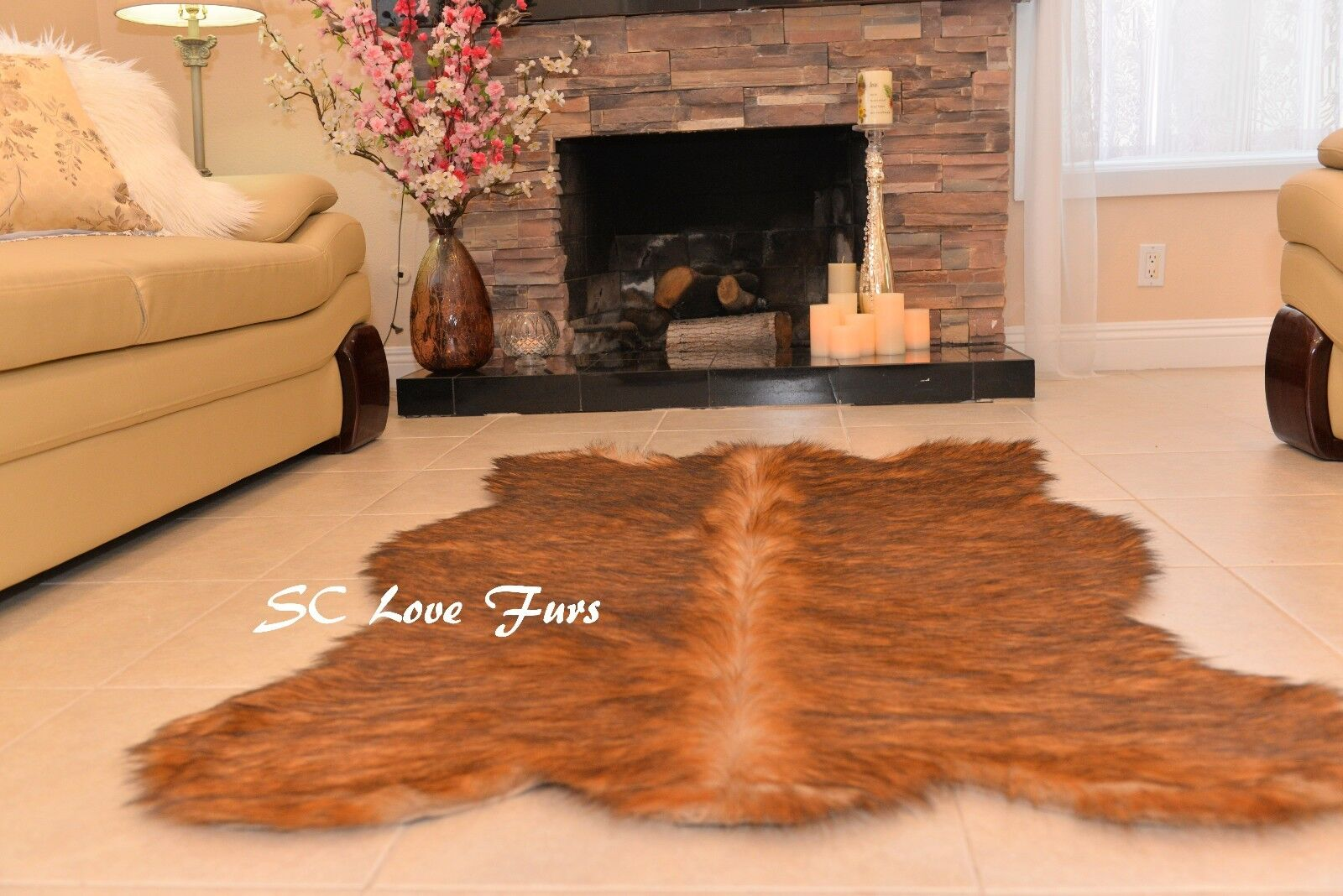 Fur Area Rug Grizzly Bearskin Designer Rug Plush Shaggy USA