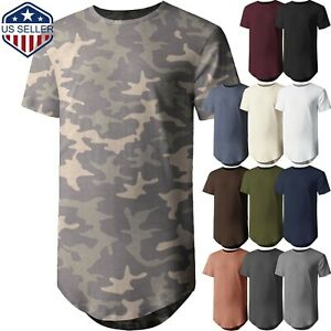 Mens-BASIC-HIPSTER-T-Shirts-Casual-Extended-Longline-Back-Hip-Hop-Tee-Big-Size