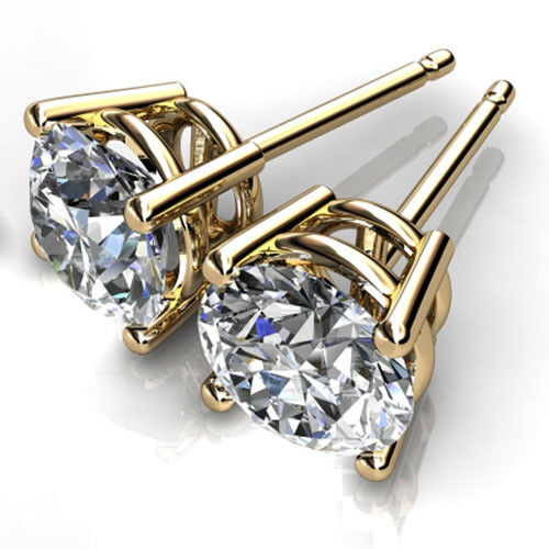 1.50 Ct Round Cut Solitaire Diamond Earring 14K Solid Yellow gold Stud Earrings
