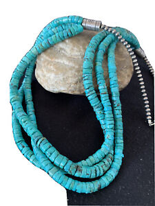 Native-American-Navajo-Sterling-Silver-3S-6mm-TURQUOISE-HEISHI-Necklace-24-01318