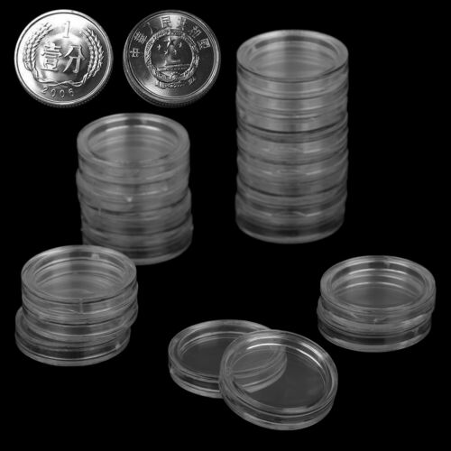 20pc18mm Applied Clear Round Cases Coin Storage Capsules Holder Round Plastic JB