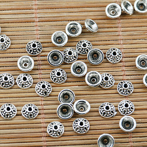 100pcs tibetan silver tone 6mm bead cap EF1704
