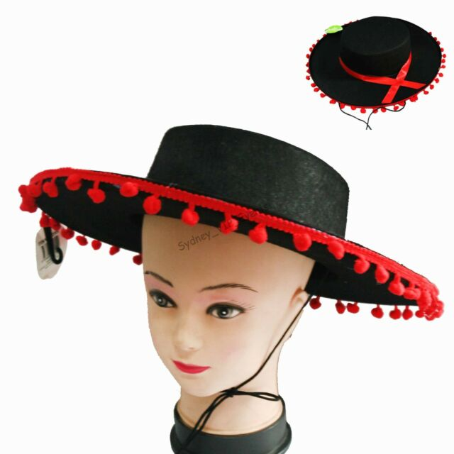 MEXICAN FIESTA PARTY SPANISH FLAMENCO MARIACHI HAT COSTUME FANCY DRESS BLACK  RED 882f7c6e6f8a