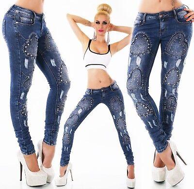 ORIGINALE DA DONNA DESIGNER STRETCH Jeans Pantaloni Jeans A Sigaretta strass borchie cuore XS XL | eBay