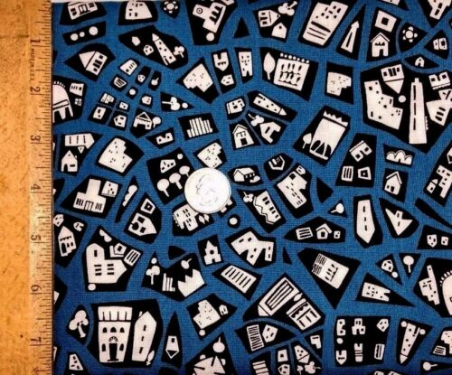 Andover fabrics Cotton by the 1//2 yrd Quilting fabric-City Scenes by Jane Dixon