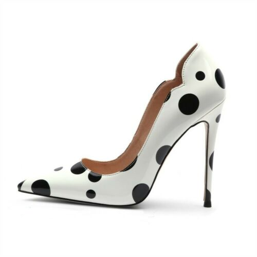 Women High Heels Pumps Slip On Pointed Toe Stilettos Polka Dot Party Shoes Court