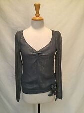 12th Street By Cynthia Vincent Sheer Gray Top w/Gold Metallic Thread Size P