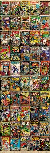MARVEL ~ 50 COVERS DOOR 21x62 COMIC ART POSTER X-Men Hulk Thor Spider-man