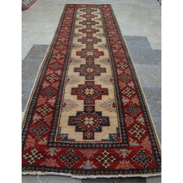 Kazak Caucasian Vegetable Dyed Ghazni Wool Hand Knotted Runner Rug 9 5 X 2 7 For Sale Online