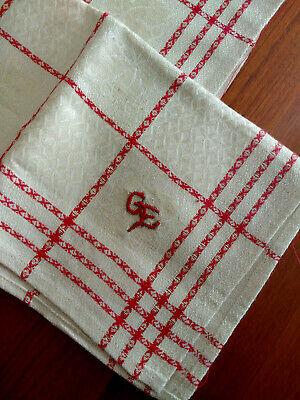2 Geschirrtücher * Rot - Weiß * Unbenutzt - Monogramm G.e. * Ranken * Blätter Moderater Preis