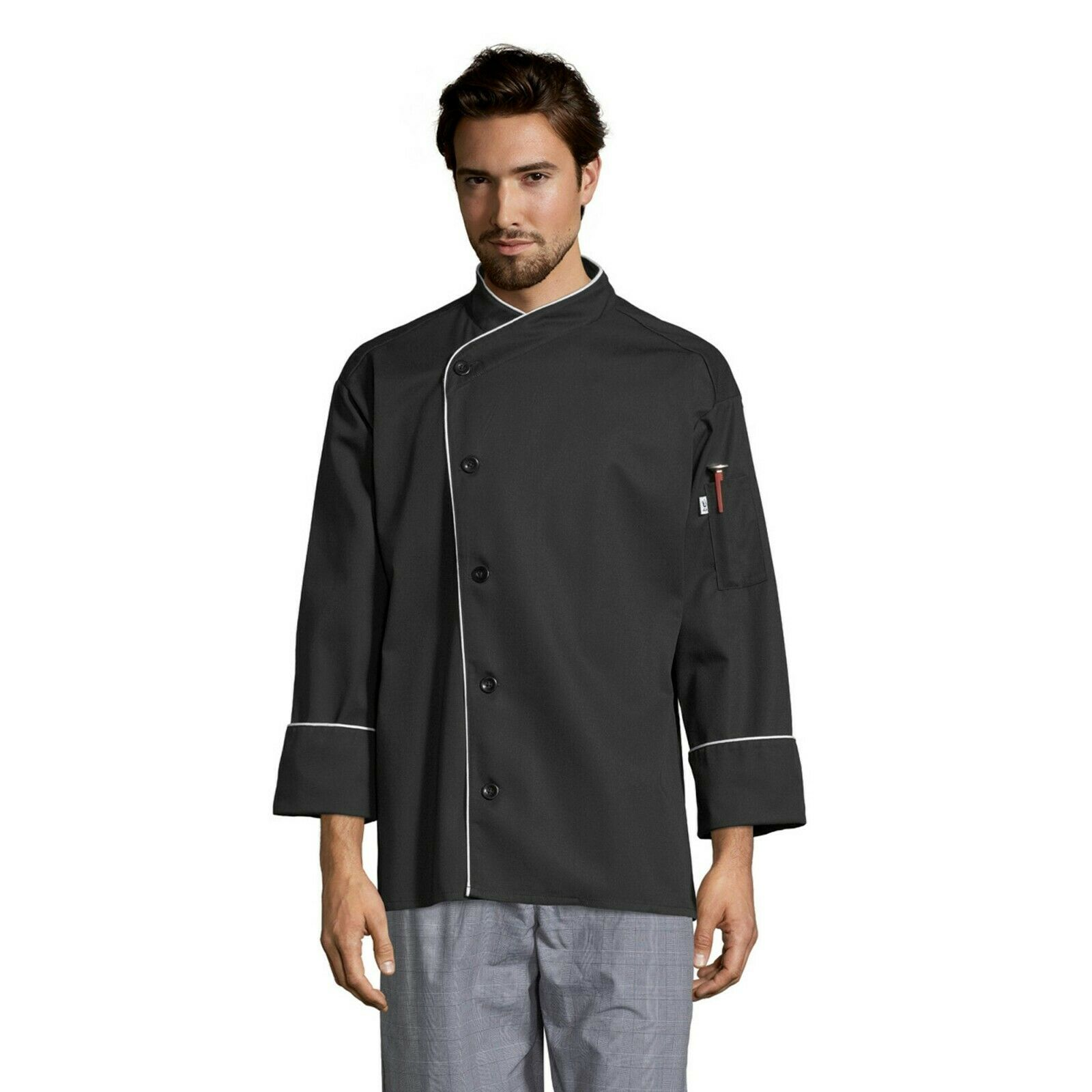 Uncommon Threads Chef Jacket PANAMA 0491 White with Black Piping size X-Large