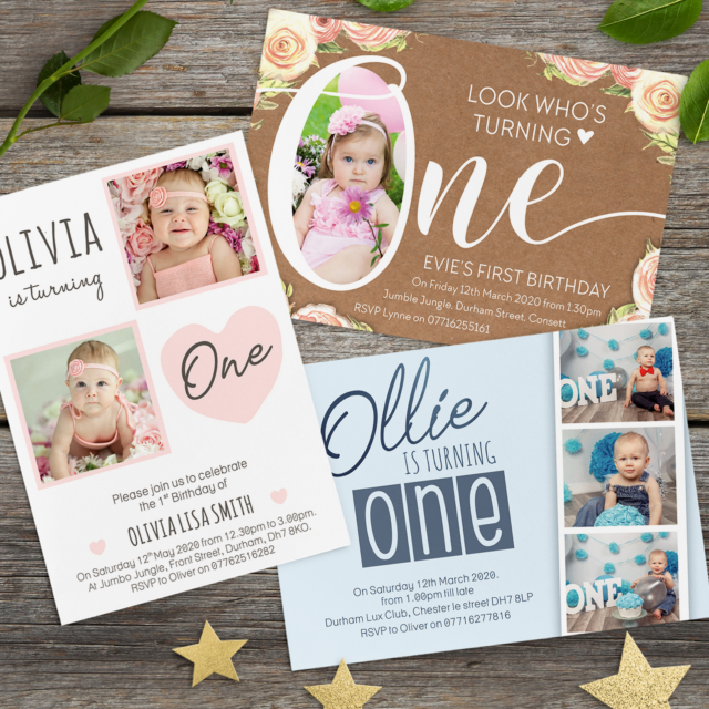 Personalised 1st Birthday Invitations O First Party Invites Boy Girl Photo