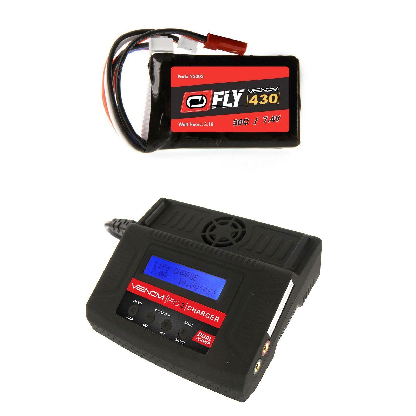 Venom volar 30C 2S 430mAh 7.4V Batería Lipo Y Cargador Combo Pro 2