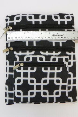 Padded 3 Zip Crossbody Messenger Hip Side Shoulder Bag Purse Travel Handbag