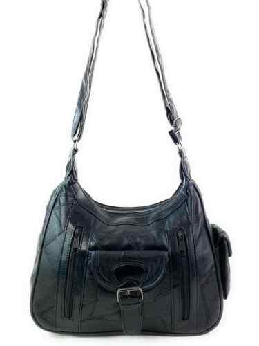 Real Leather Handbag Cross Body Long Shoulder Strap Women Black Travel Work