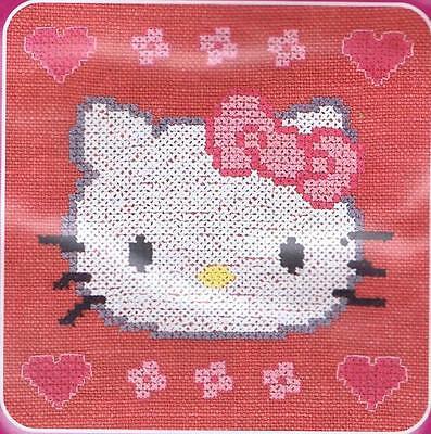 Hello Kitty Custo Cross Stitch Kit By DMC Using Waste Canvas