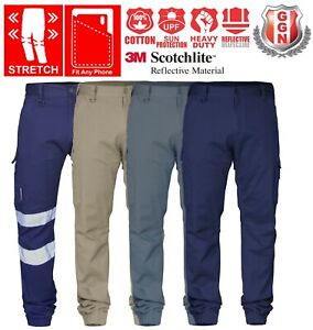 Work-Cargo-Pants-Stretch-Cotton-Drill-Elastic-Ankle-Cuff-3M-Tape-UPF-50-Utility