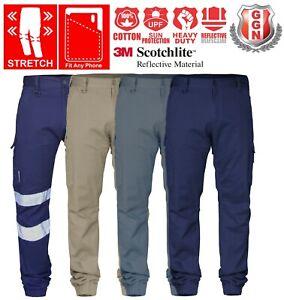 Pantalones-Tipo-Cargo-De-Trabajo-Taladro-De-Algodon-Elastico-Elastico-Brazalete-De-Tobillo-UPF-50