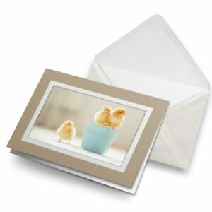 Greetings-Card-Biege-Small-Yellow-Chicks-Easter-Bird-14577