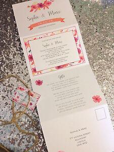 concertina design wedding evening invites with postcard RSVP eBay