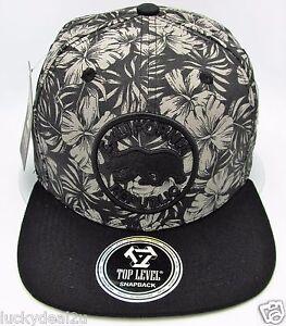 CALIFORNIA REPUBLIC Snapback Cap Hat CA CALI Bear OSFM Gray Black NWT