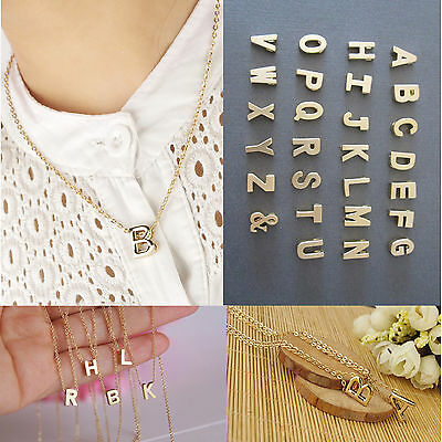 Women Gift Gold plate Letter name Initial chain Pendant Fashion Necklace cbinus