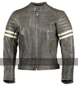 Vintage-Fight-Club-Cuero-Moto-Chaquetas-Biker-con-rayas-en-blanco