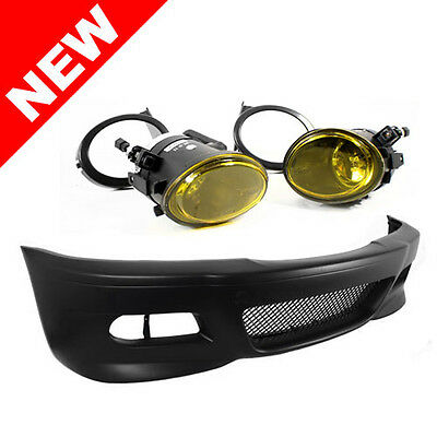 99-06 BMW E46 3-Series M3 Style Front Bumper w/ Yellow Fog Lights + Covers